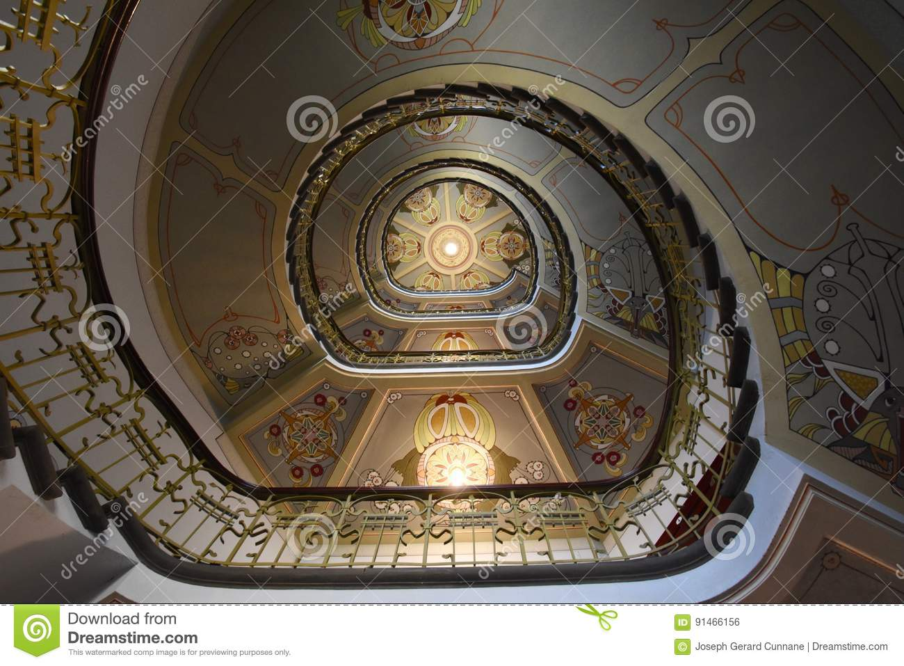 Art Nouveau Riga Museum Stairwell Of Art Nouveau Museum Riga Editorial Photo Image Of