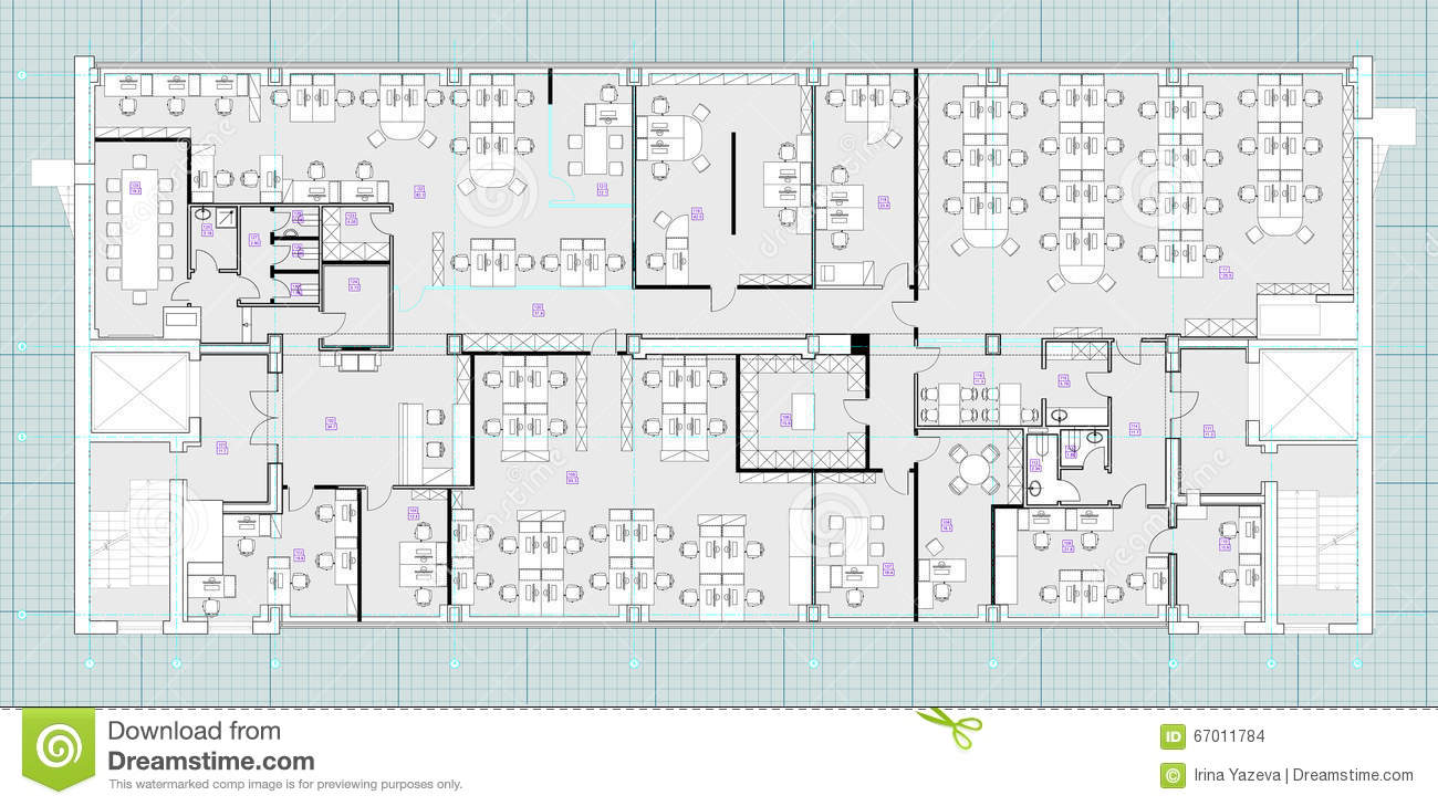 Office Plans Standard Office Furniture Symbols On Floor Plans Stock