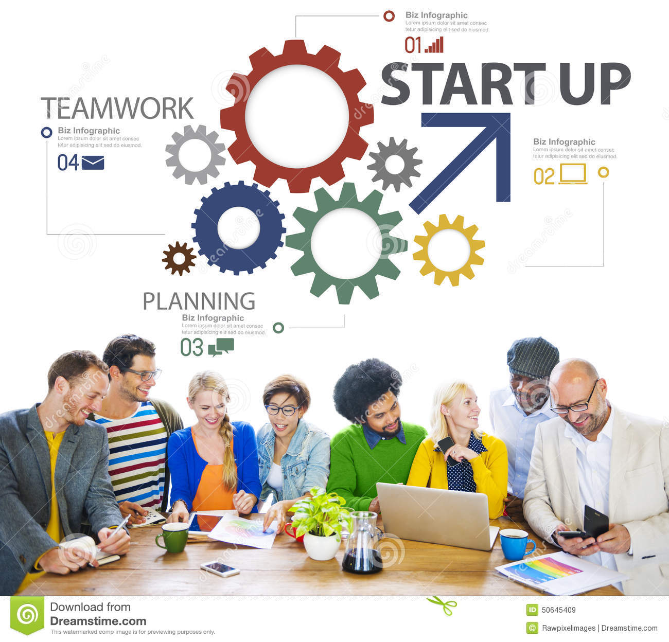 Start A Startup Company Startup New Business Plan Strategy Teamwork Concept Stock