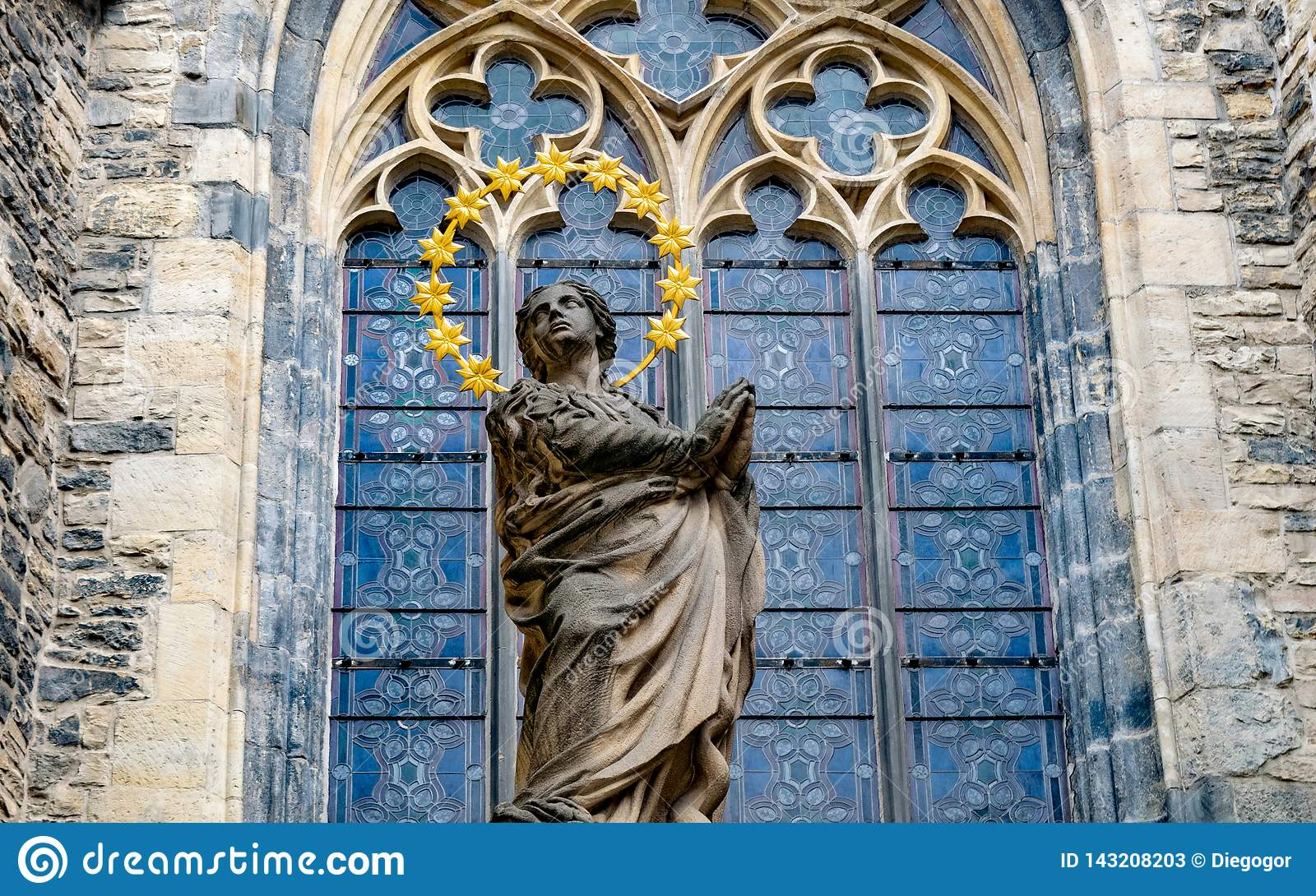 Berlin Gothic Statue In Front Of Gothic Church In Berlin Stock Image Image Of