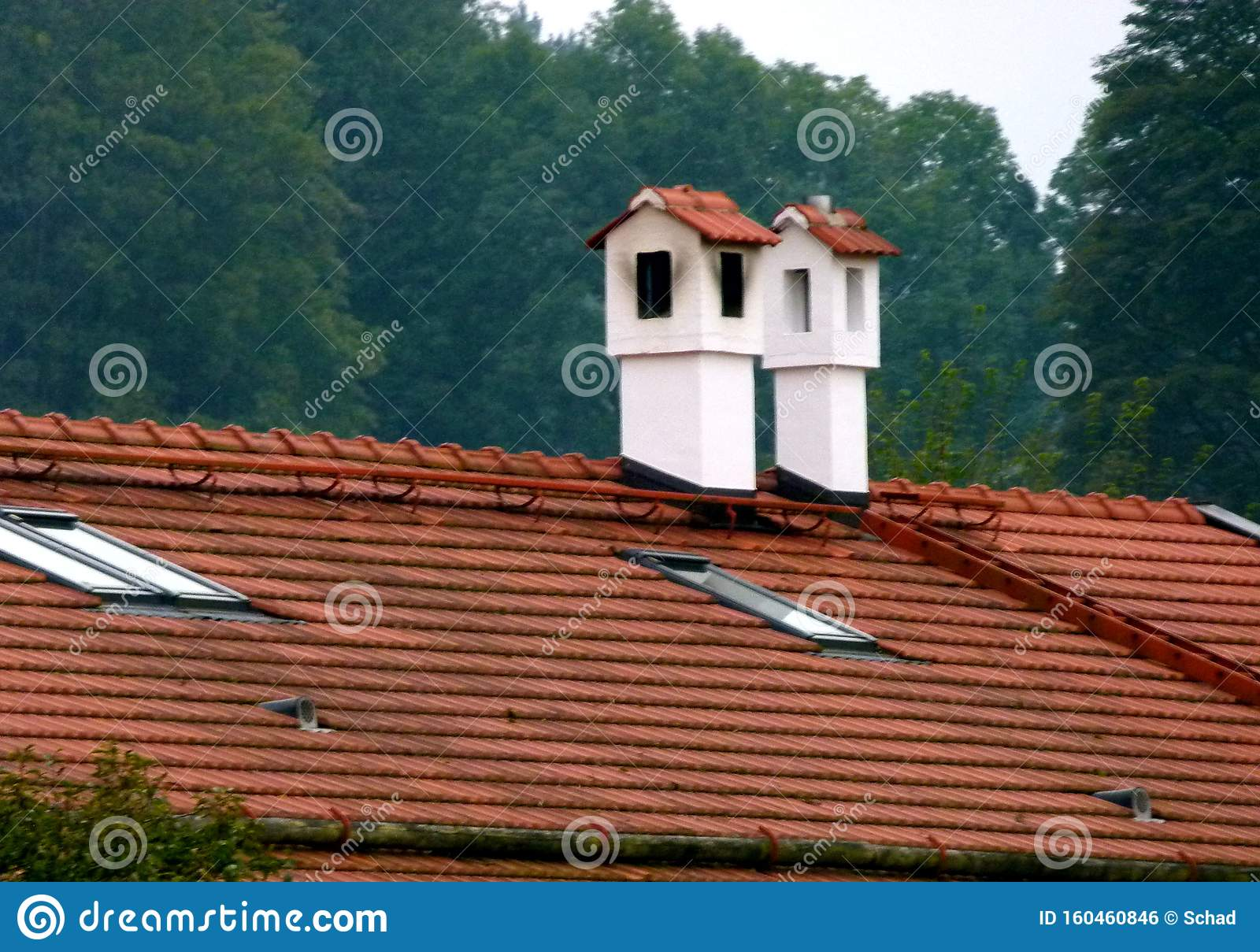 2 White Chimneys Plastered With Brick Cover On A Tiled Roof Stock Photo Image Of Outdoors Construction 160460846