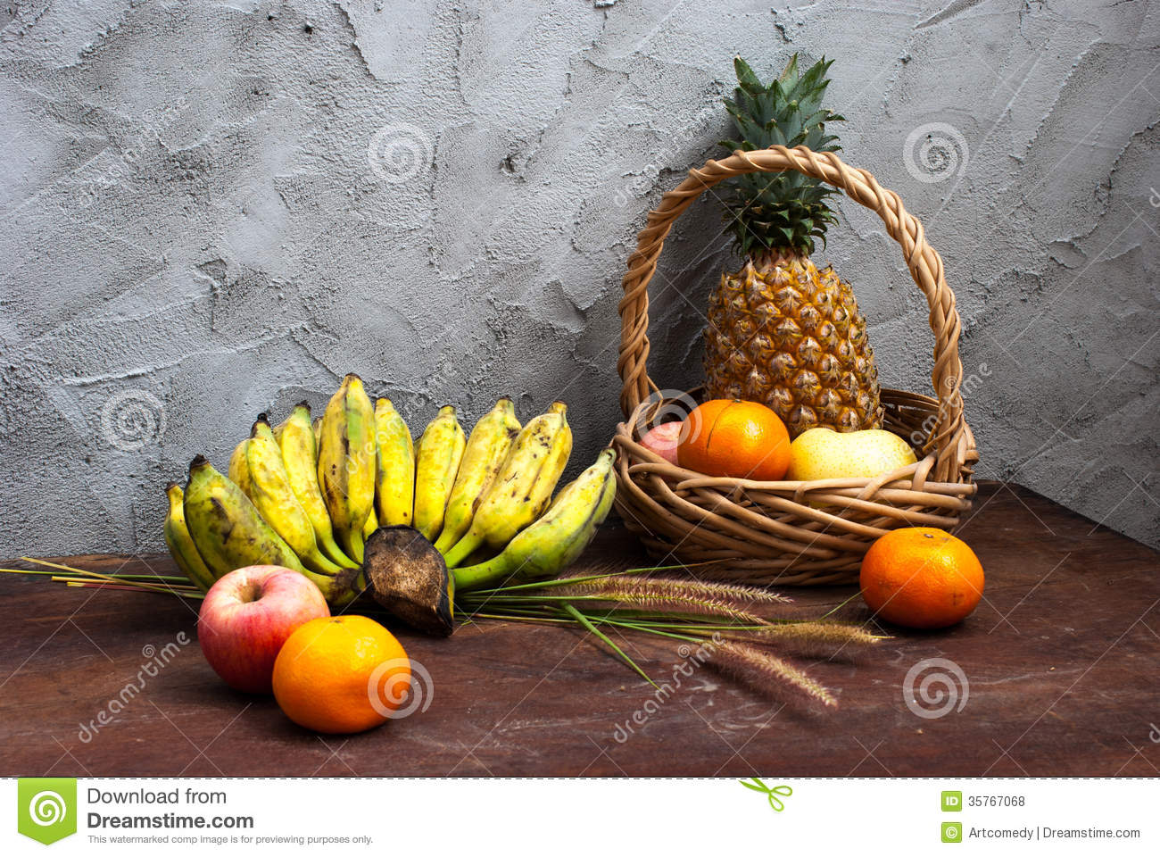 Table Top Fruit Basket Still Life With Fruits And A Basket Stock Photo Image