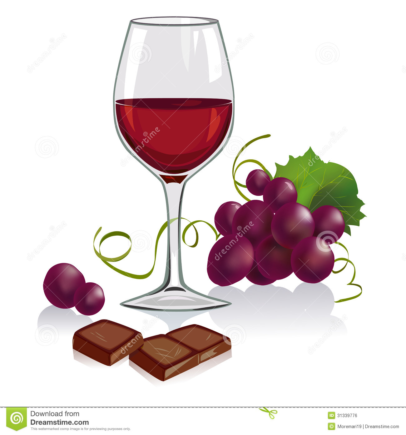 Weinglas Clipart Kostenlos Still Life With A Glass Of Wine Grapes And Chocol Stock