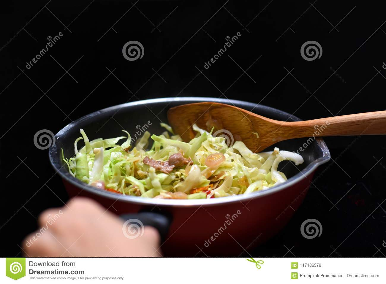 Cuisine Induction Stir Fried Mixed Vegetable In Teflon Pan Heat Source By Induction