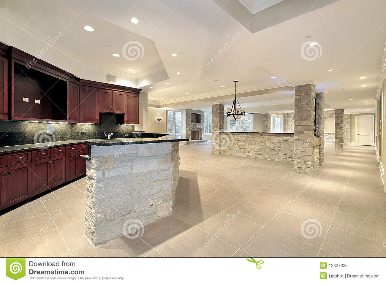 Bar En Pierre Stone Bar And Kitchen In Basement Stock Image Image Of