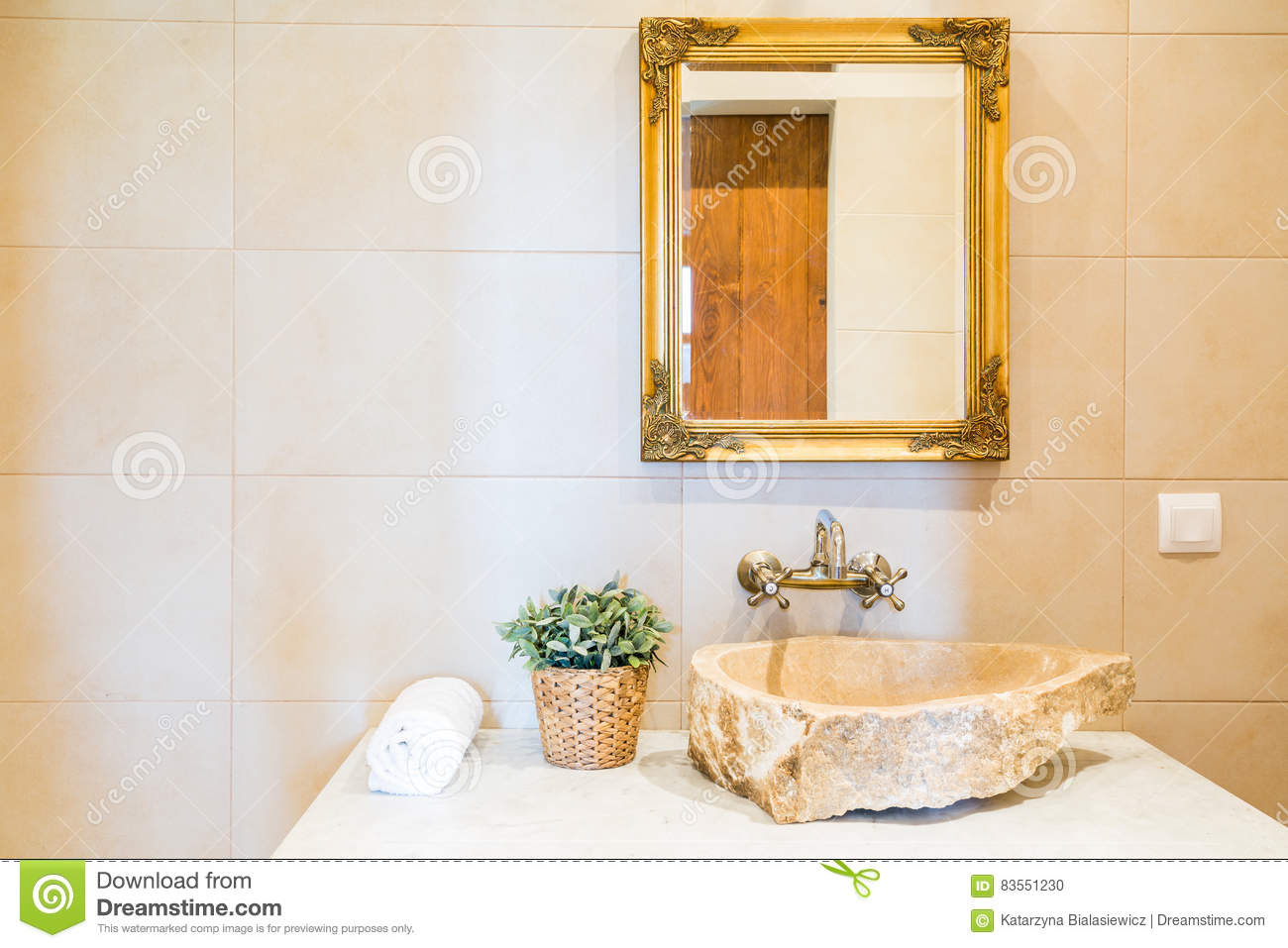 Stone Sink And Mirror In Bathroom Stock Photo Image Of Creative Decoration 83551230