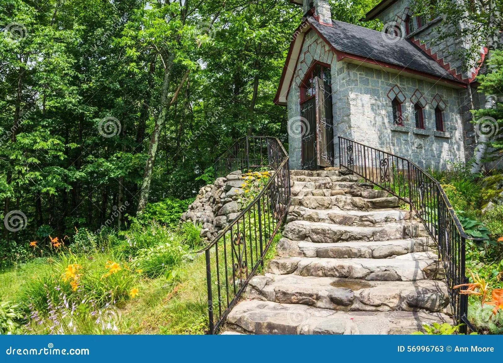 Stone Steps Leading To Historic Stone House Stock Image