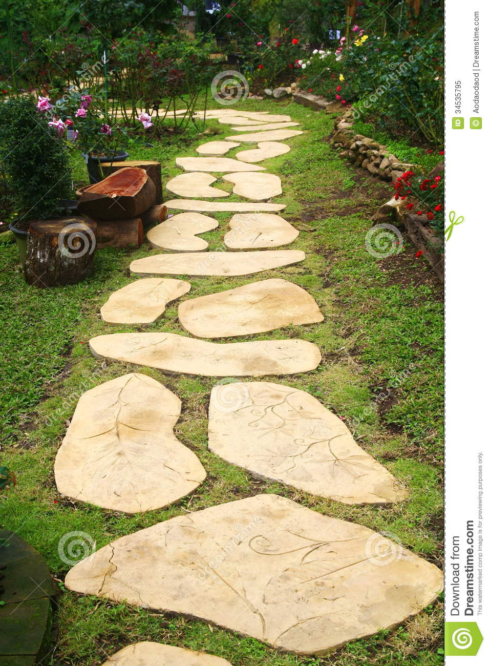 Royalty free stock photo garden stone thailand walkway