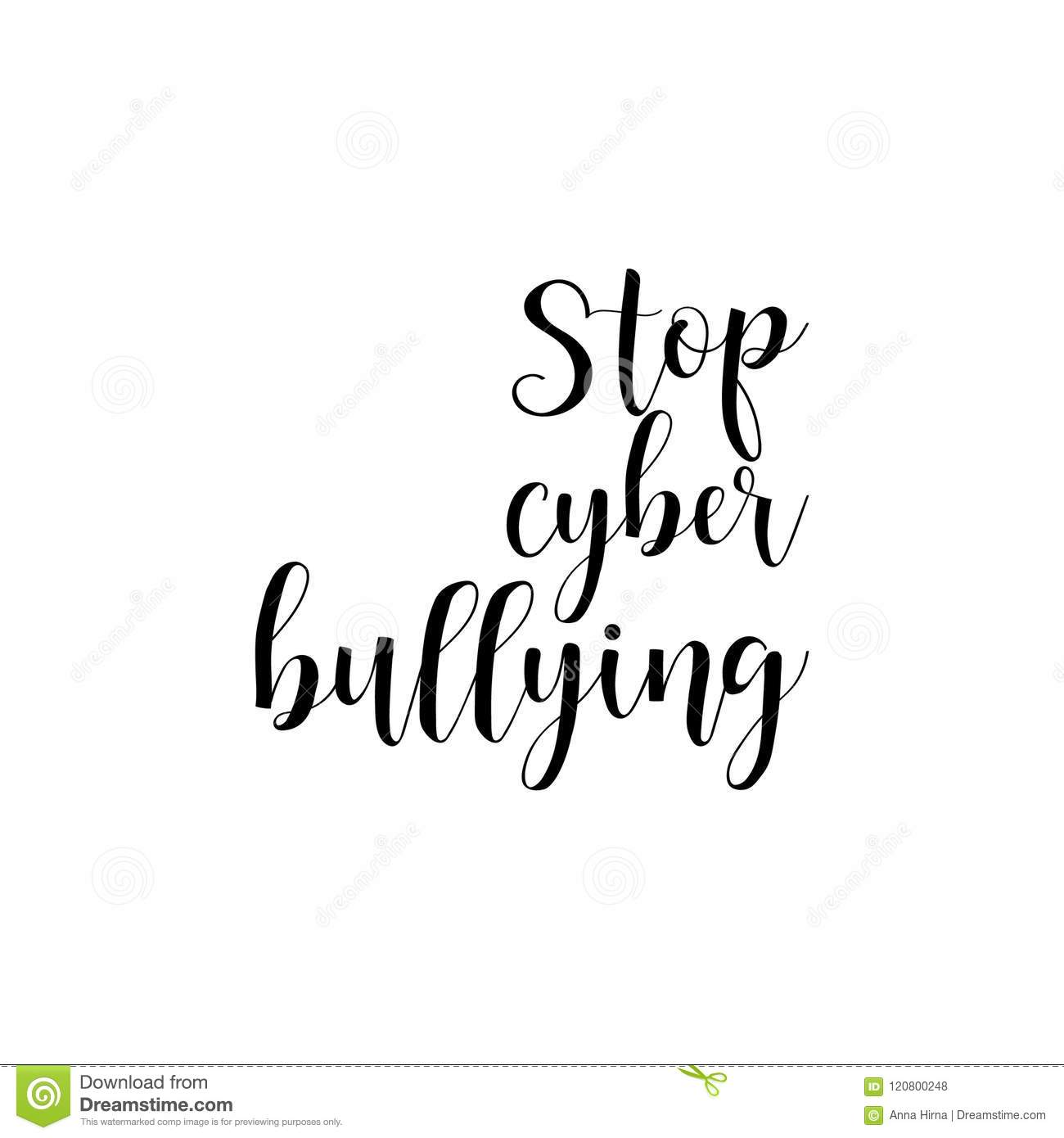 Calligraphy Online Stop Cyber Bullying Lettering Calligraphy Vector Illustration