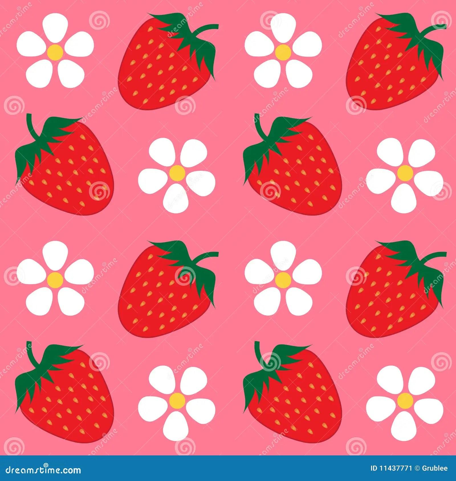 Cute Cartoon Flower Wallpaper Strawberry Wallpaper Background Stock Vector Image 11437771