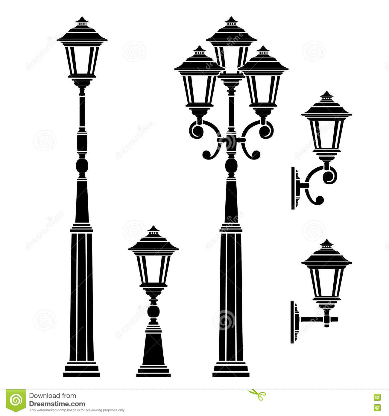 Lampadaire Exterieur Dwg Street Lamps Collection Lantern Set Stock Vector Image