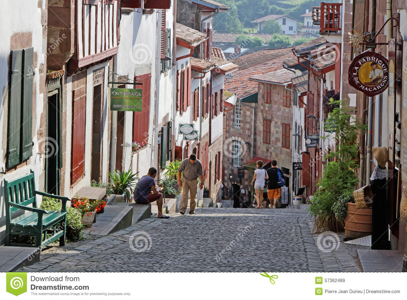 Saint Jean Pied De Port A Street In Saint Jean Pied De Port Editorial Stock Image Image