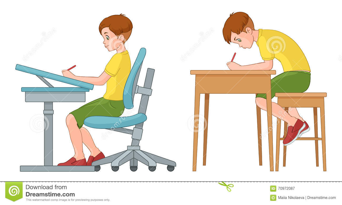 Best Reading Chair For Bad Back Student Boy Writing Incorrect And Correct Back Sitting