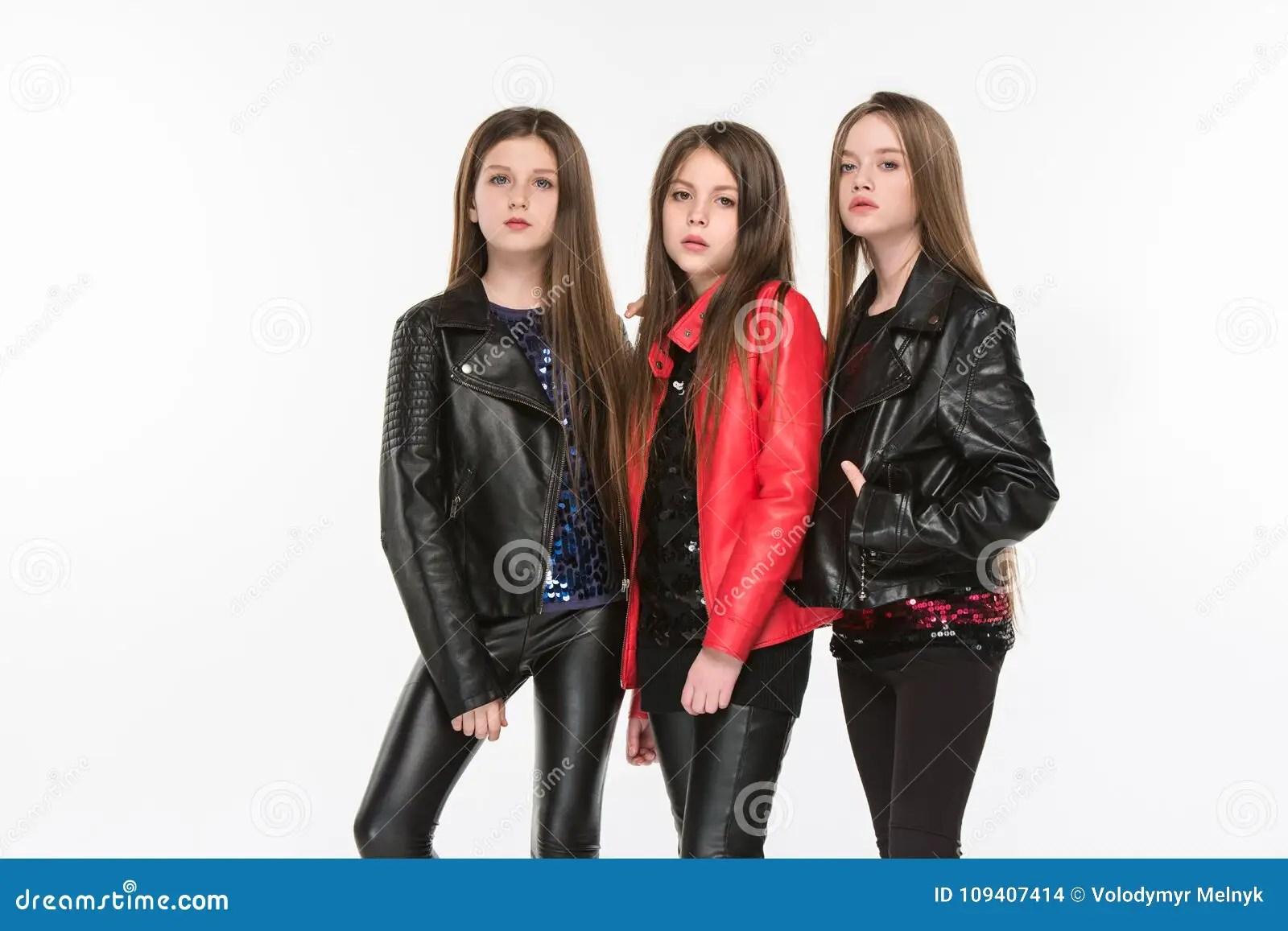 Studio Portrait Of Young Attractive Caucasian Teen Girls