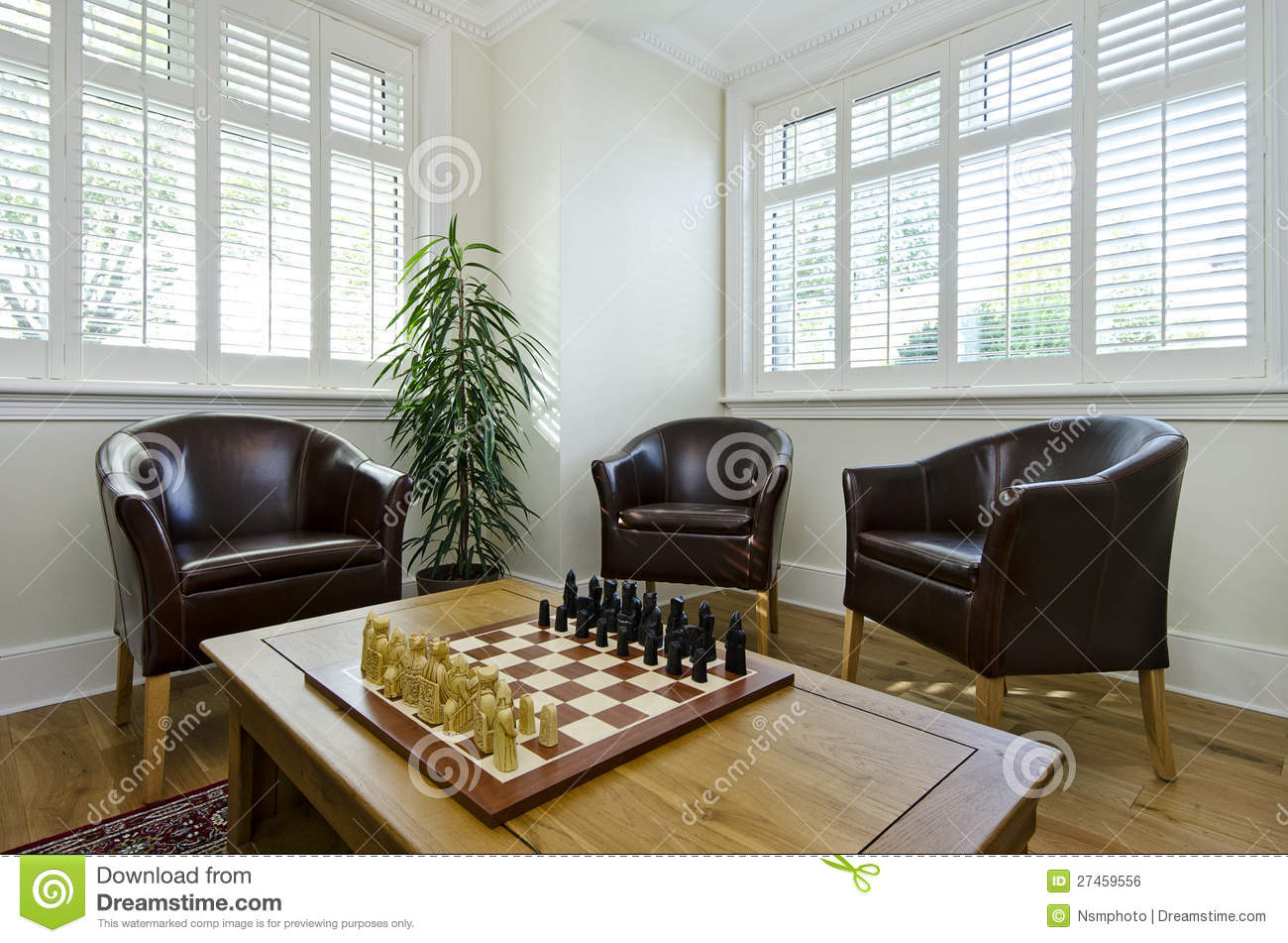 Comfortable Office Chair Study Room With Leather Armchairs And Chess Board Stock