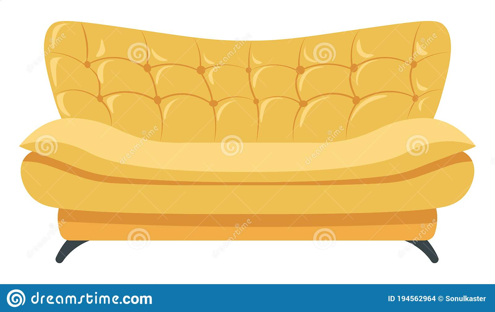 Stylish Leather Sofa For Home Or Office Interior Stock Vector Illustration Of Cozy Comfort 194562964