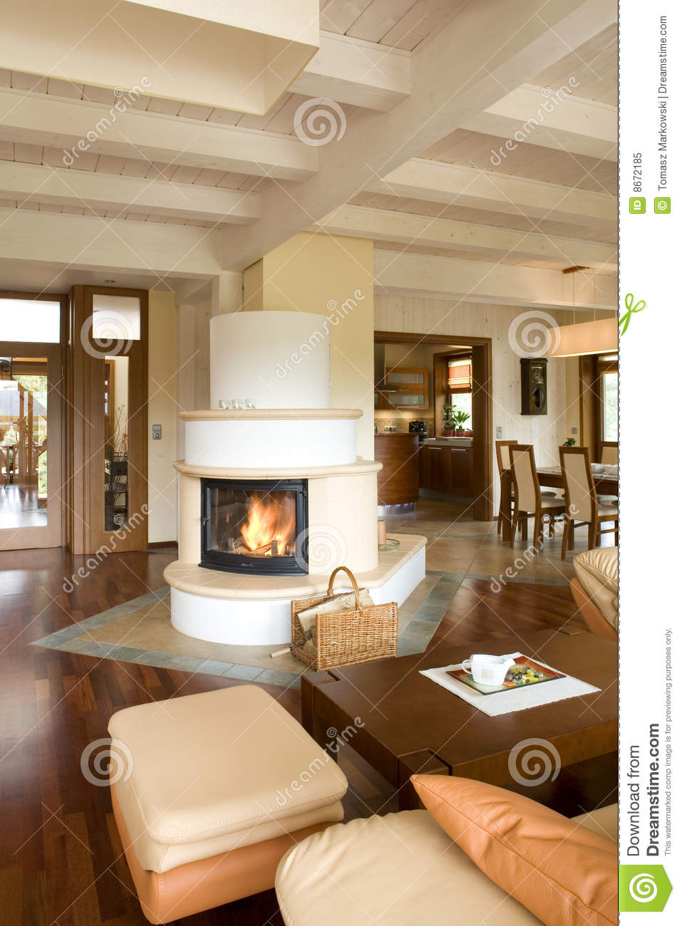 Wohnzimmer In Cream Stylish Modern Living Room With Fireplace Stock Image Image Of