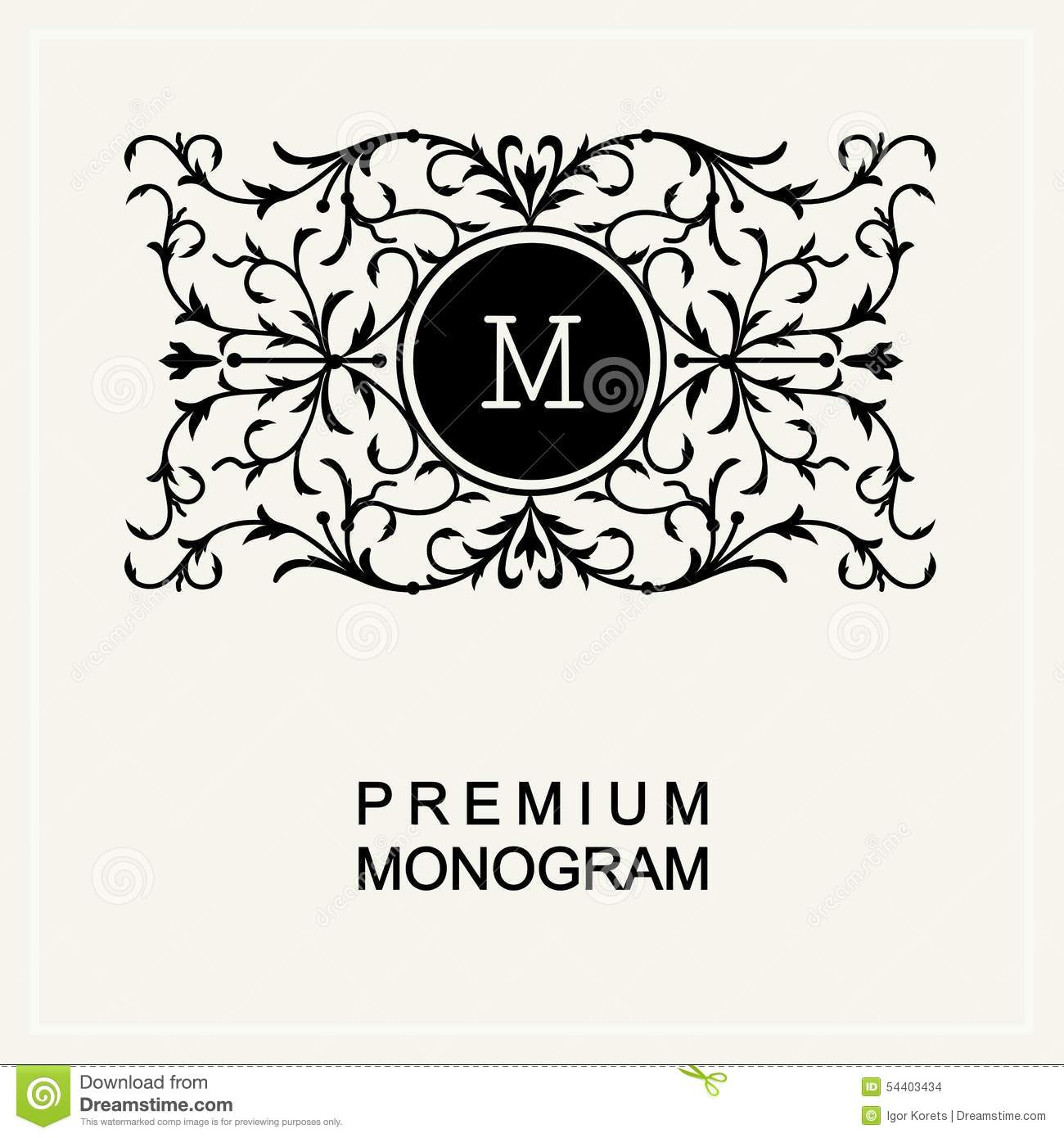 Arte Logo Eps Stylish Monogram Line Art Logo Art Nouveau Stock Vector