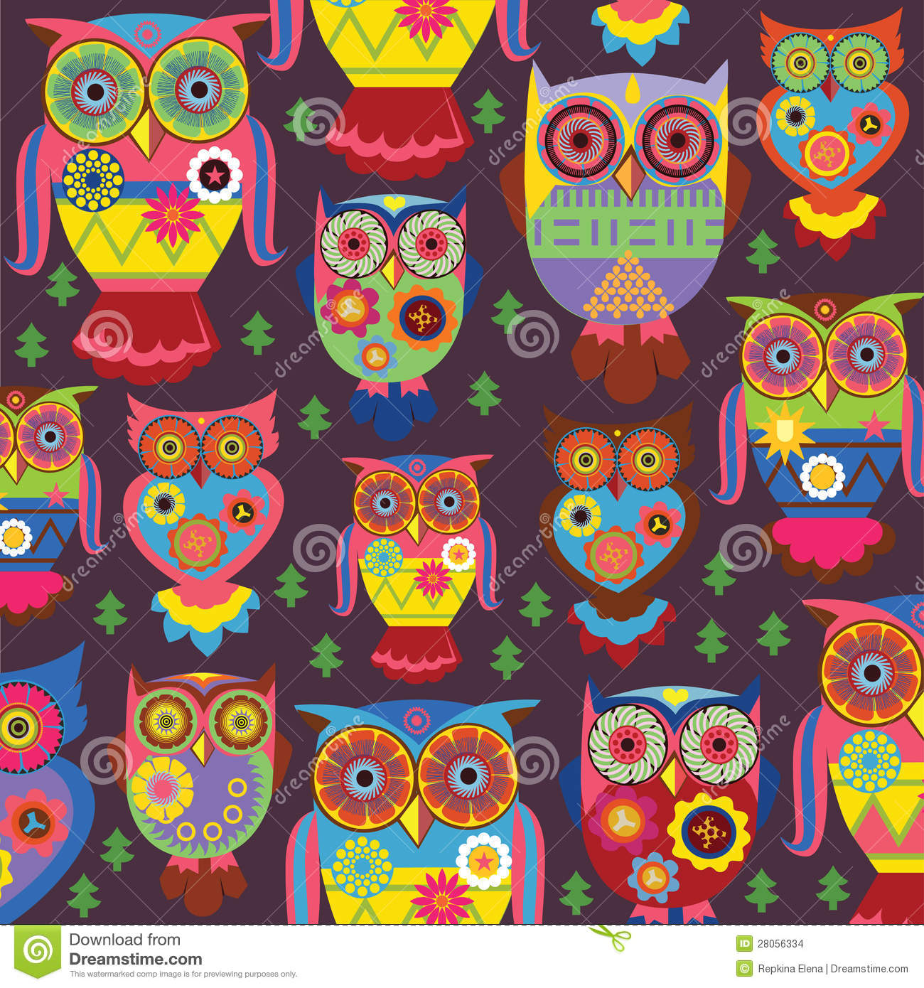 Cartoon Fall Wallpaper Stylish Owls On A Violet Background Stock Images Image
