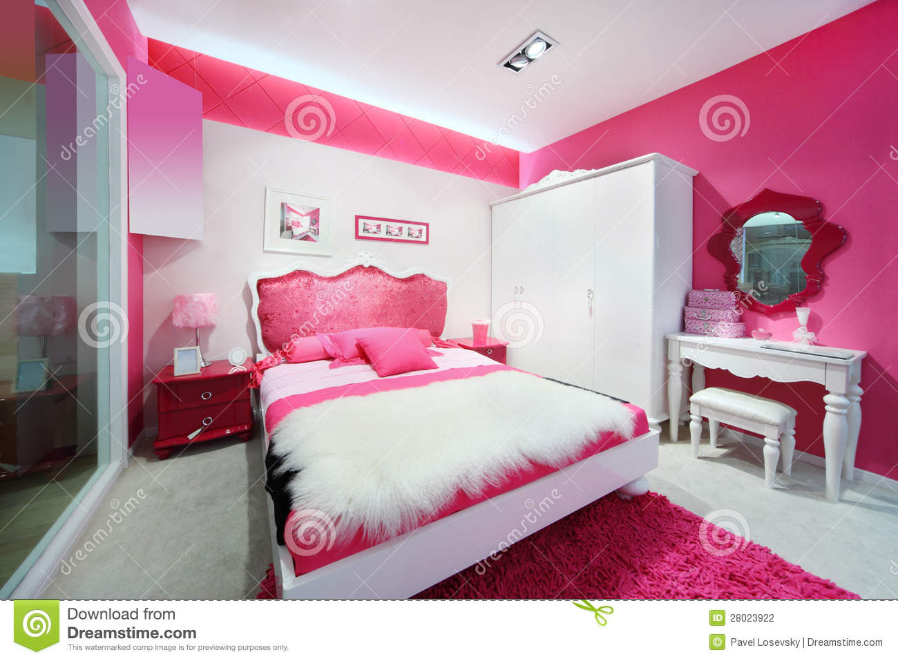 Schlafzimmer Modern Pink Stylish Pink White Beautiful Bedroom Stock Photo Image