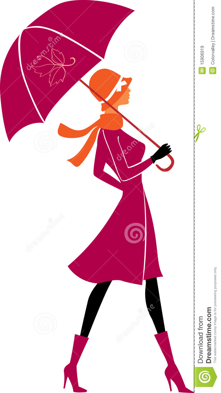 Girl With Hat Wallpapers Stylish Woman With Umbrella Stock Illustration Image