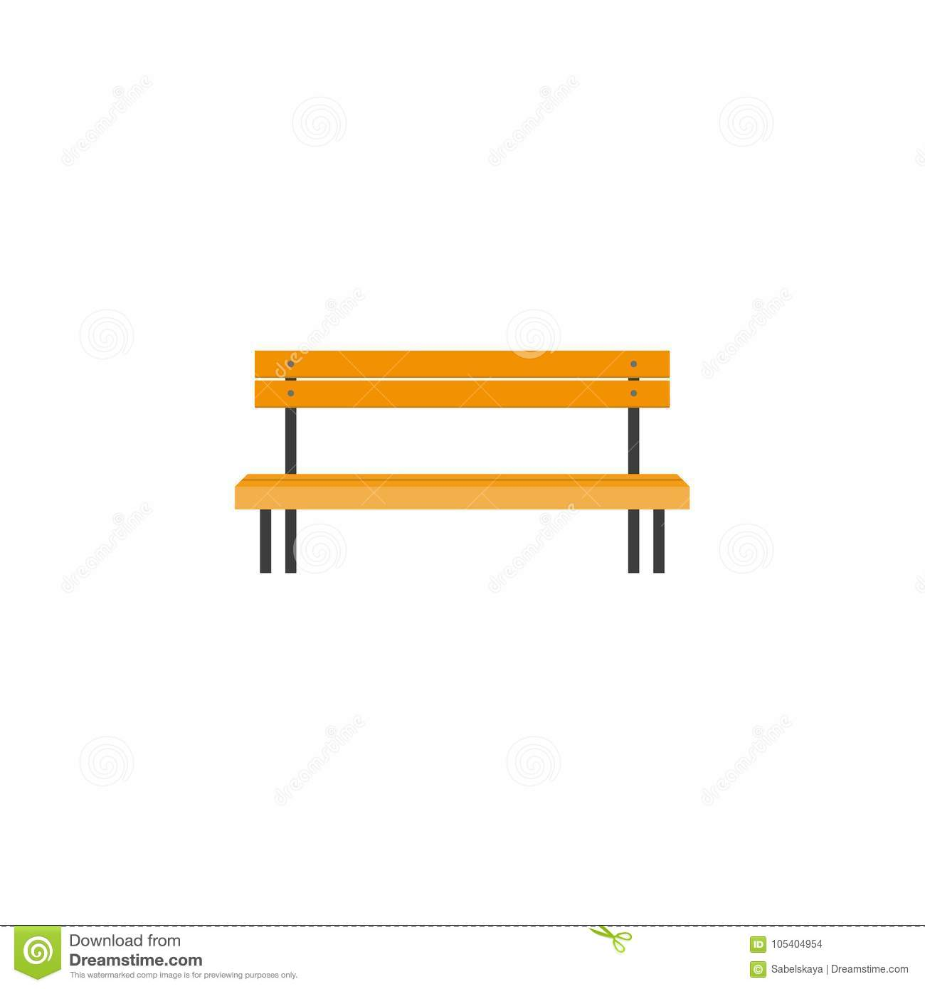 Wooden Park Benches Front Stylized Flat Style Wooden Park Bench Front View Stock