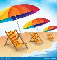 Summer Beach Holiday. Seashore With Beach Umbrella And ...