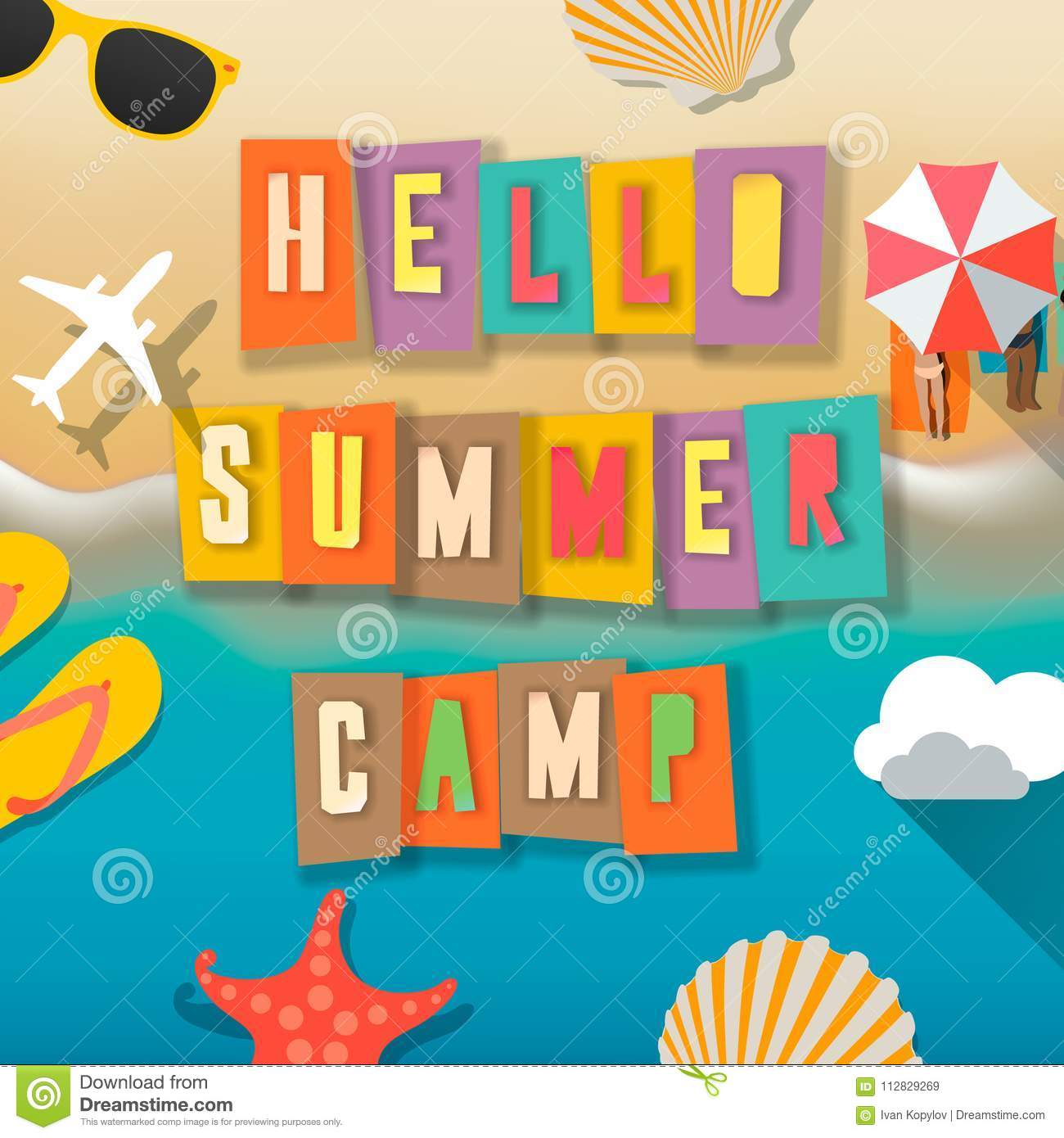 Outdoor Kinder Summer Camp For Kids Poster Summer Childs Outdoor Activities On