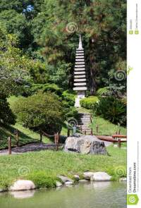 Japanese Garden In The Summer.Stone Traditional Tower ...