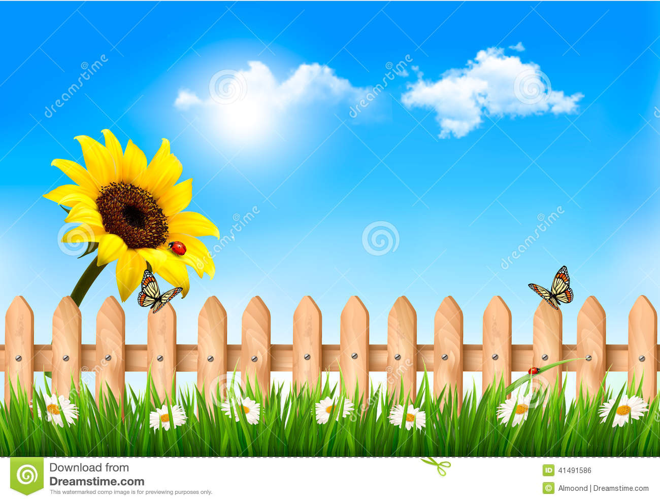 Nechar Wallpaper 3d Summer Nature Background With Sunflower And Wooden Fence