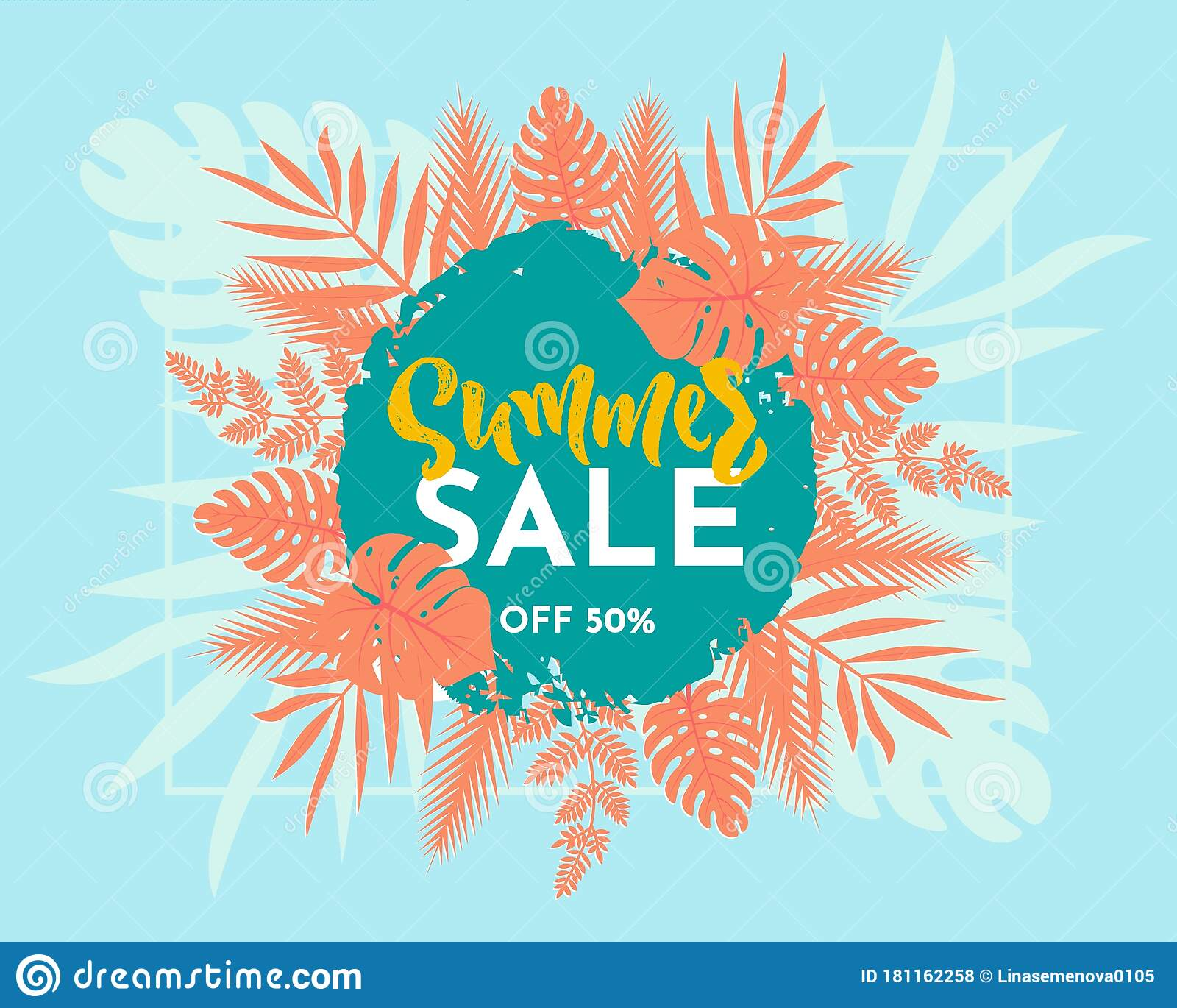 Poster Online Kaufen Summer Sale Web Banner, Tropical Colorful Leaves. Advertisement On Blue Background. Vector Illustration Stock Vector - Illustration Of Fashion, Sell: 181162258