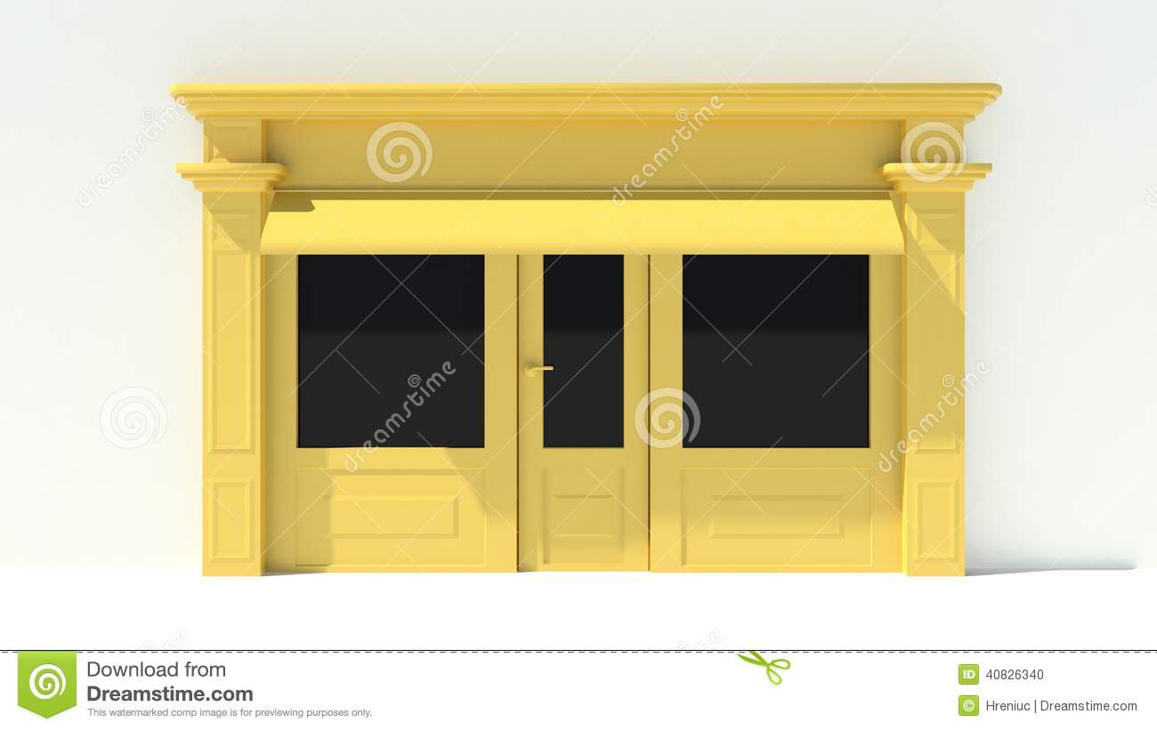 Yellow Shop Sunny Shopfront With Large Windows White And Yellow Store