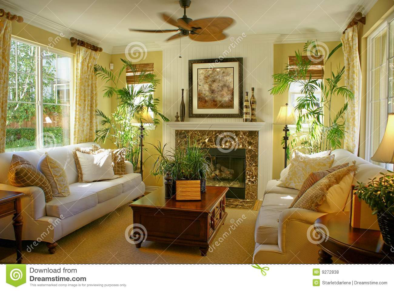Upscale Ceiling Fan Sunny Yellow Living Room W Fan Stock Photo Image Of Upscale