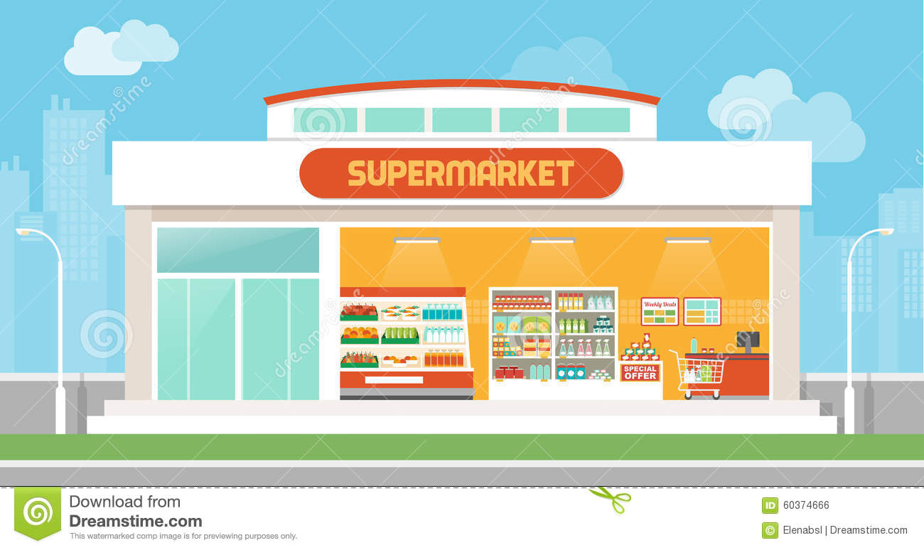 Store Banne 3.5 Supermarket Building Stock Vector Illustration Of