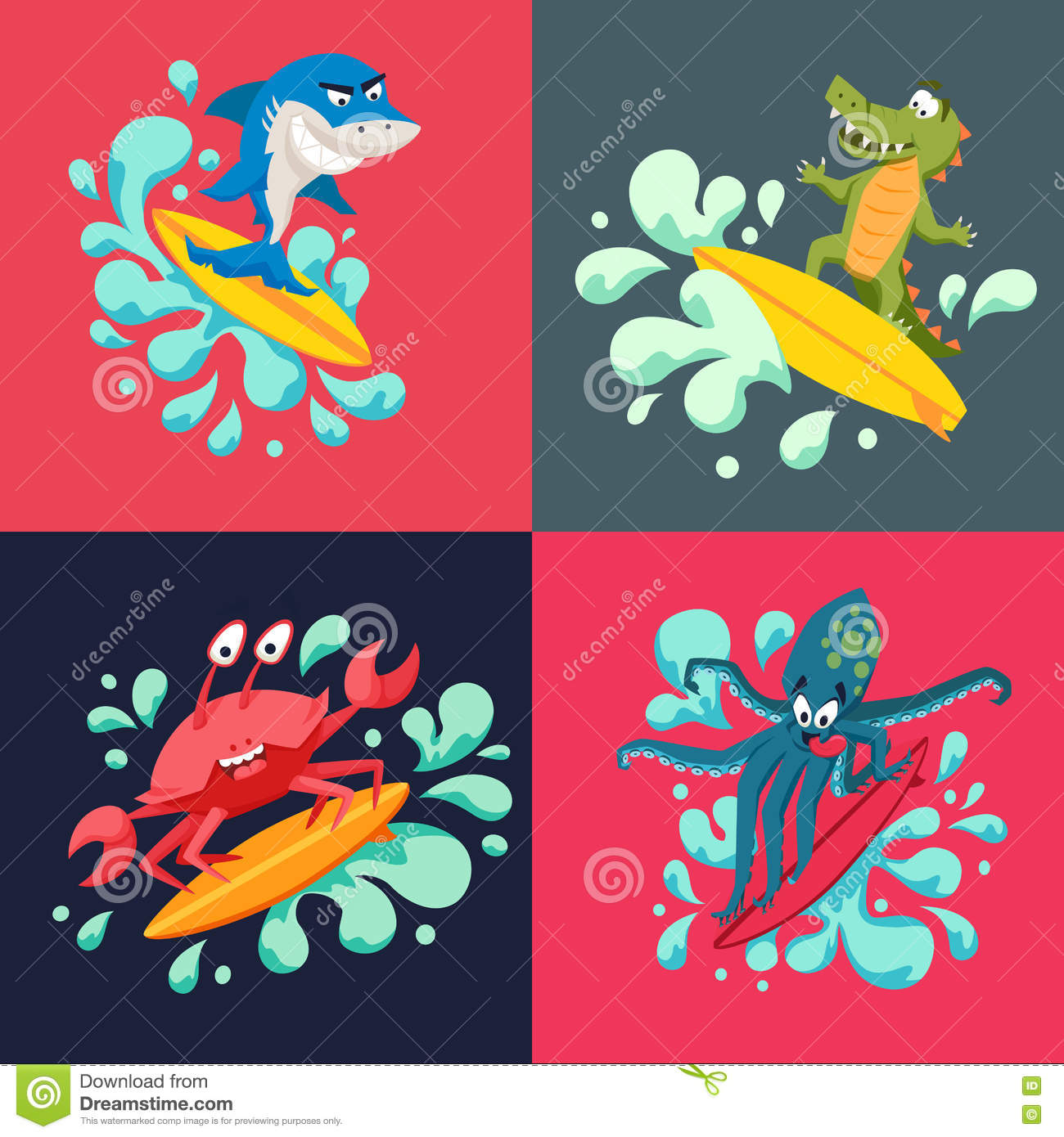 Cool Octopus Art Surfer Cool Animals Stock Vector Illustration Of Animal 74441567