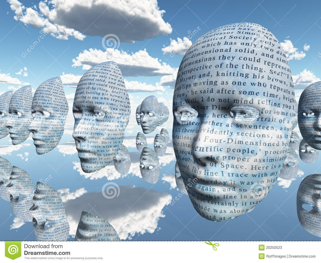 Abstract Art 3d Wallpaper Surreal Face With Text Stock Illustration Illustration Of