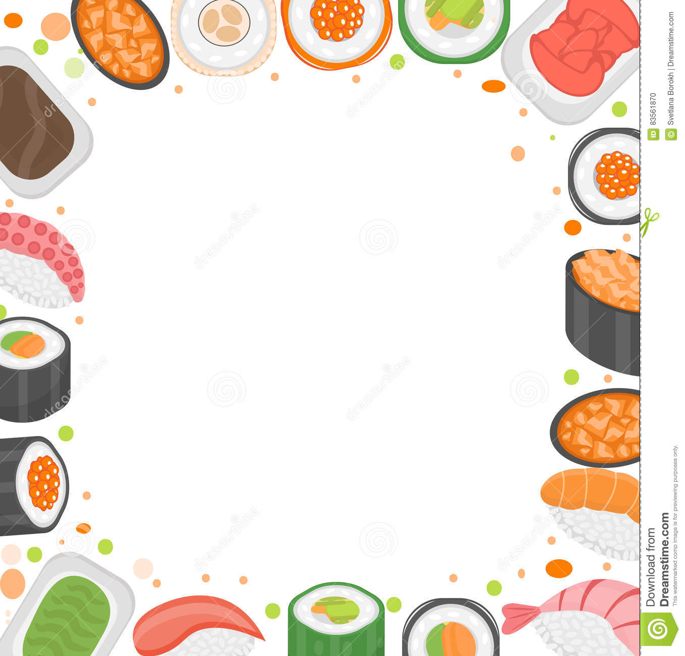 Cliparts Küche Gratis Sushi Frame Template With Space For Text Japanese Cuisine