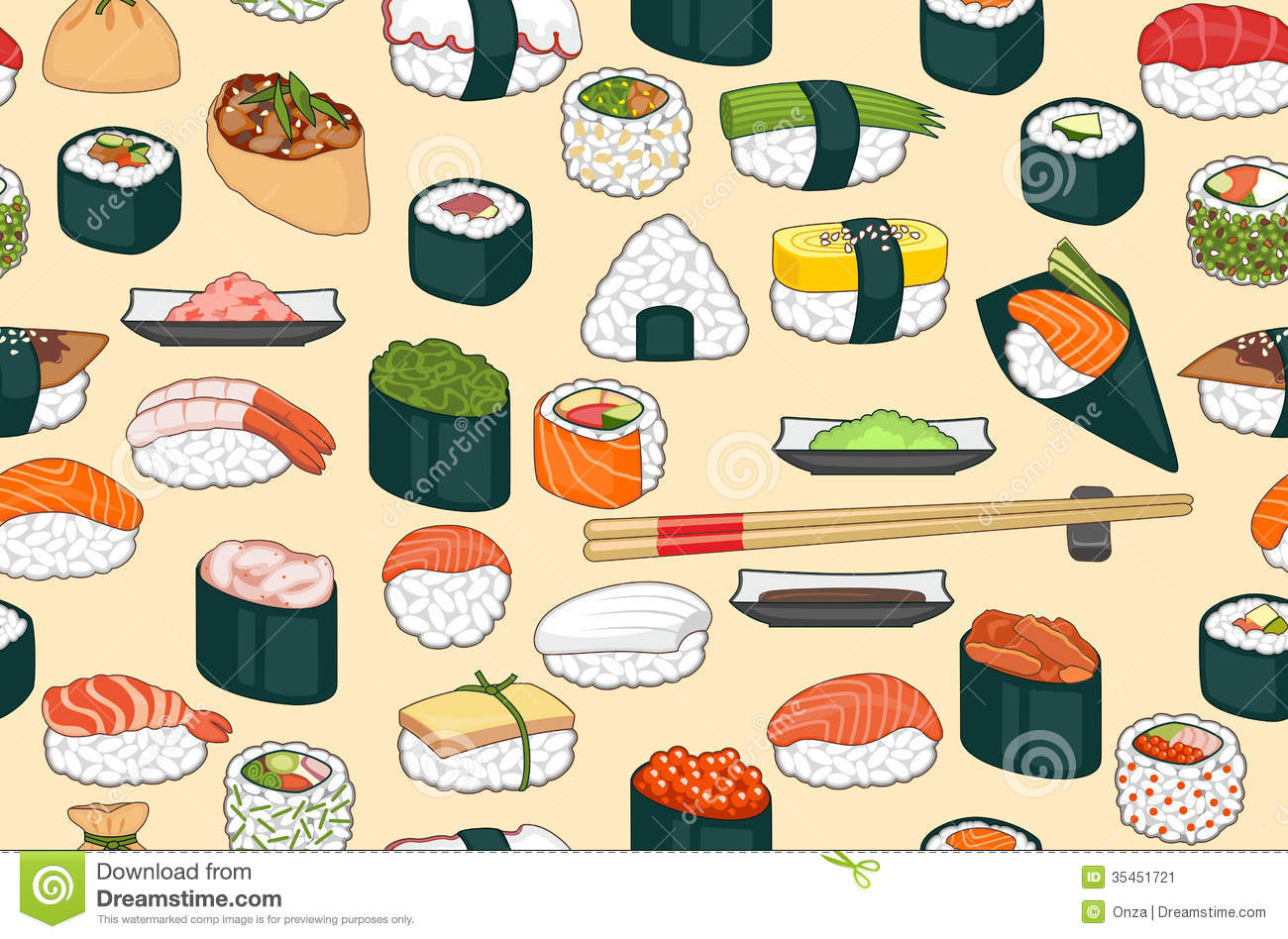 Octopus Iphone Wallpaper Sushi Seamless Background Stock Vector Image Of Nori