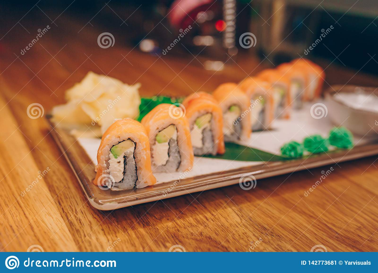 Plateau Cuisine Sushi Smoked Philly Plateau Buffet In Night Dining Resturant Flat