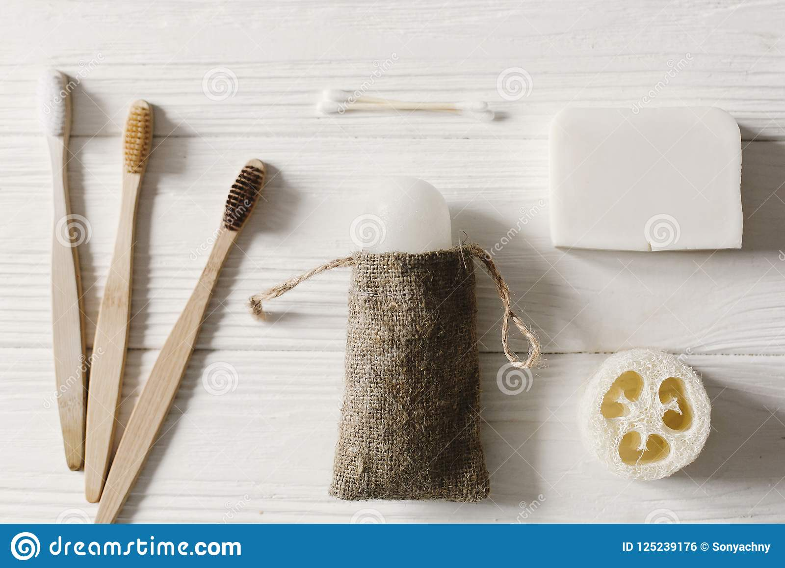Sustainable Lifestyle Concept Zero Waste Flat Lay Bathroom Essentials Plastic Free Items Eco Natural Bamboo Stock Photo Image Of Clean Bamboo 125239176