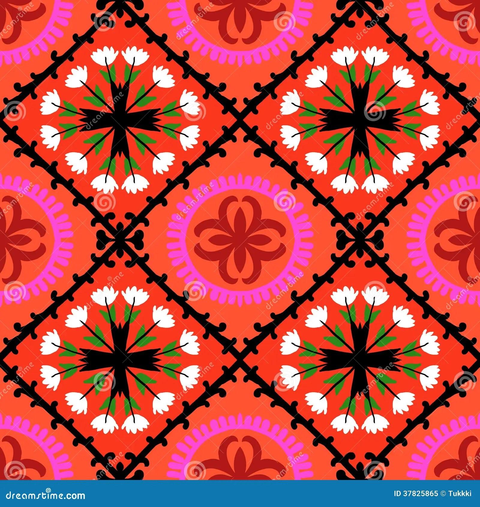 Vector Wallpaper Fall Colors Suzani Pattern With Uzbek And Kazakh Motifs Royalty Free