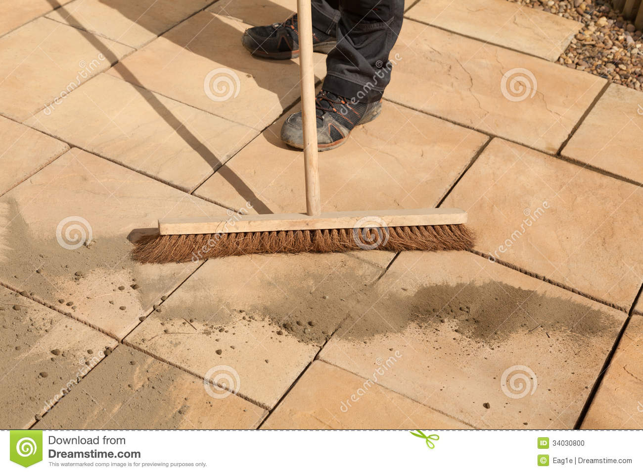 Sweeping Paving Area Stock Photo Image 34030800