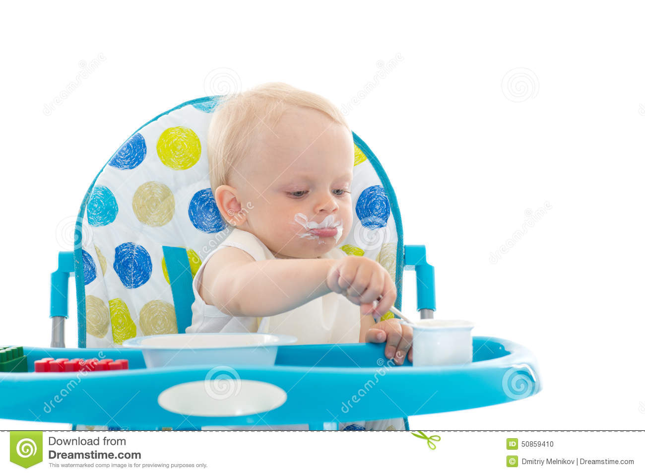 Infant Learning Chair Sweet Baby With Spoon Eats The Yogurt Stock Photo Image