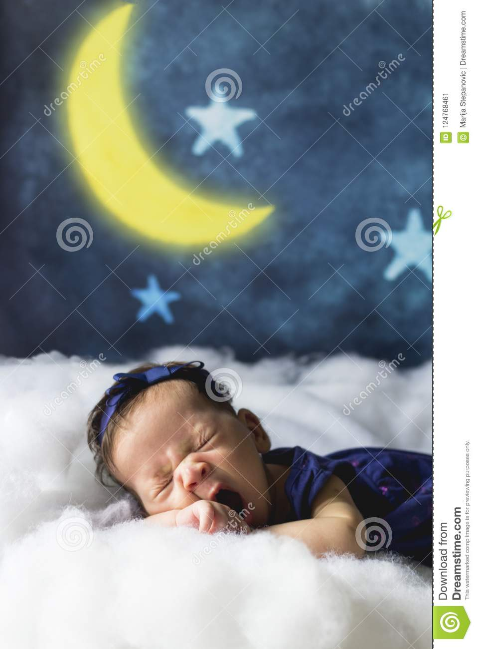 Newborn Bedtime Sweet Dreams Bedtime And Good Night Concept Sleepy Little Baby