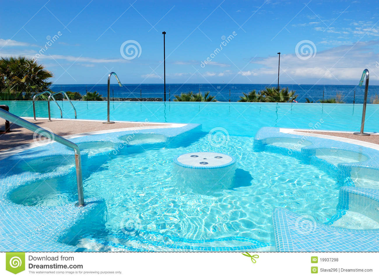 Jacuzzi Pool Hotel Swimming Pool With Jacuzzi At Luxury Hotel Stock Photo