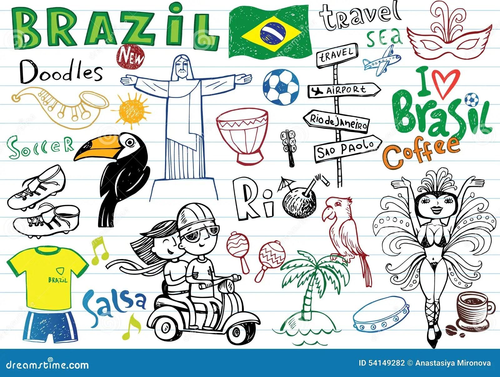 3d Cartoon Girl Wallpapers Symbols Of Brazil Stock Vector Image 54149282