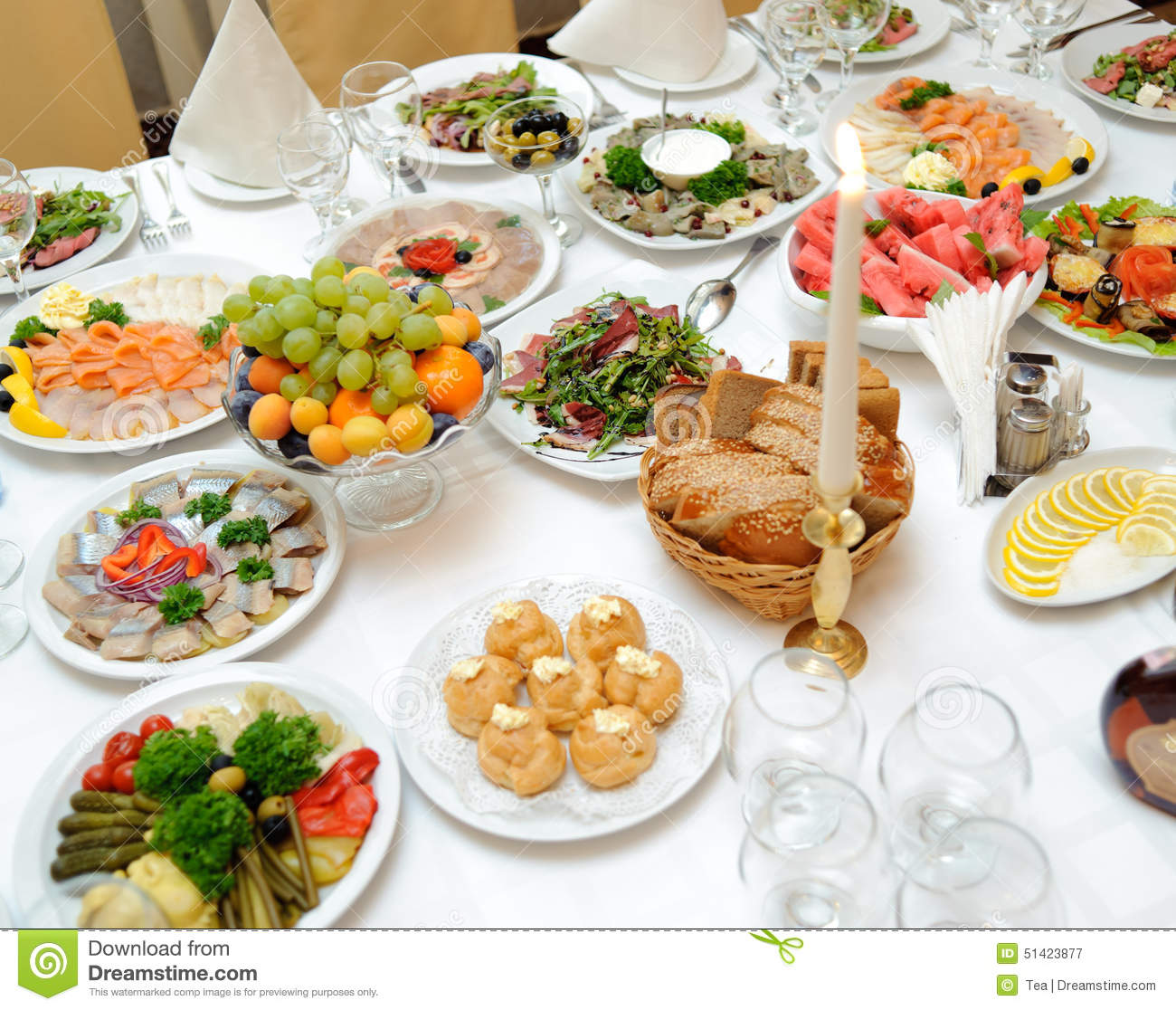 Table Snack Cuisine Table With Food In Restaurant Stock Image Image 51423877