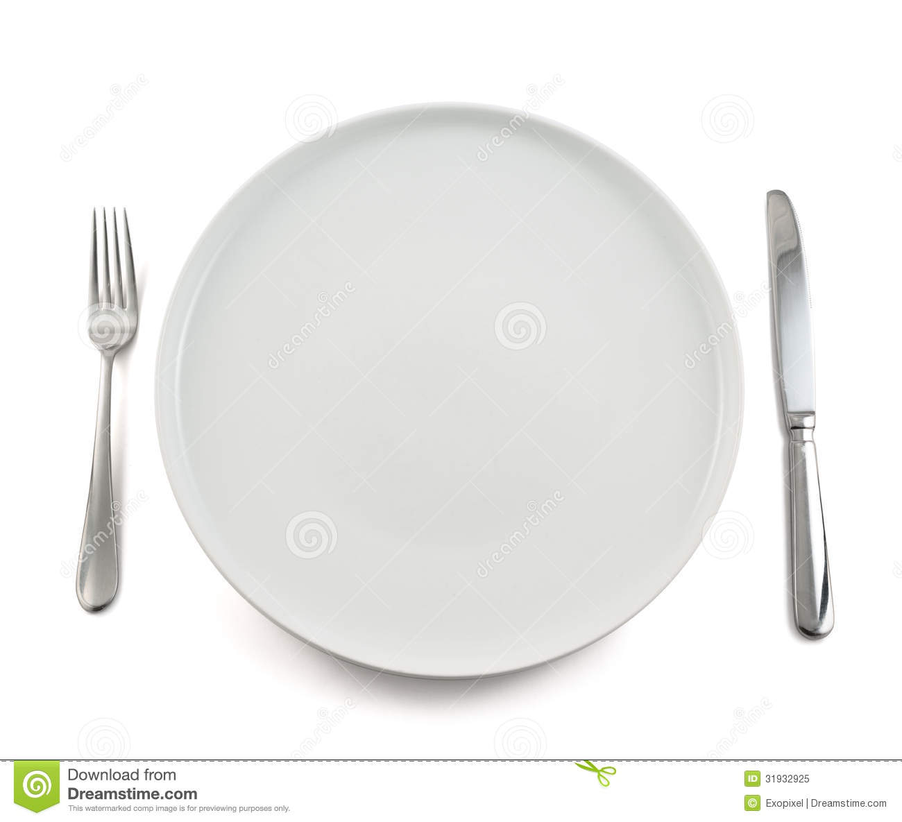 Background ceramic dinner dish empty fork isolated knife plate table top view white