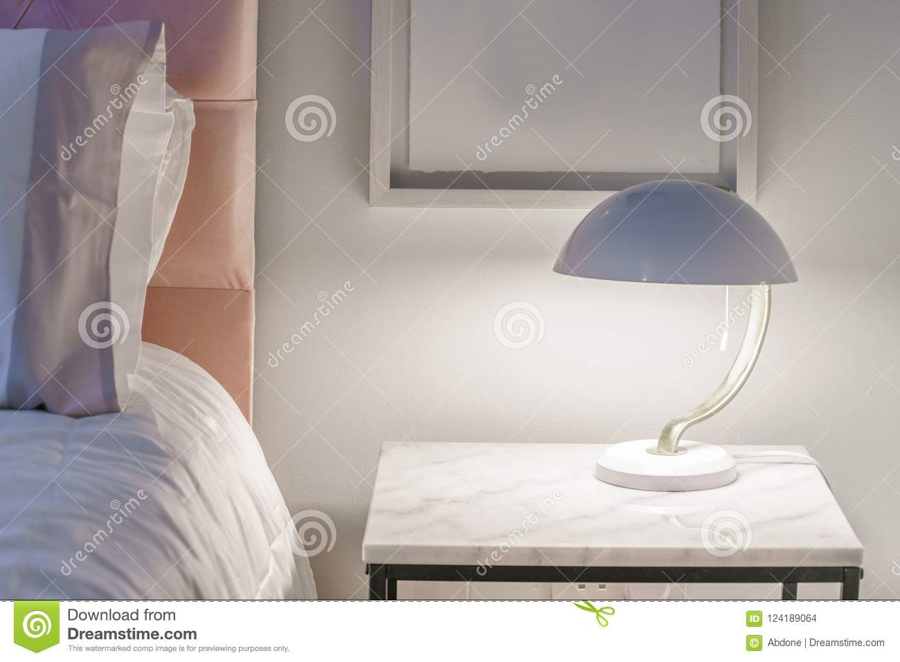 Modern Night Lamp For Bedroom Pretty Modern Night Light On A Small Table Stock Photo