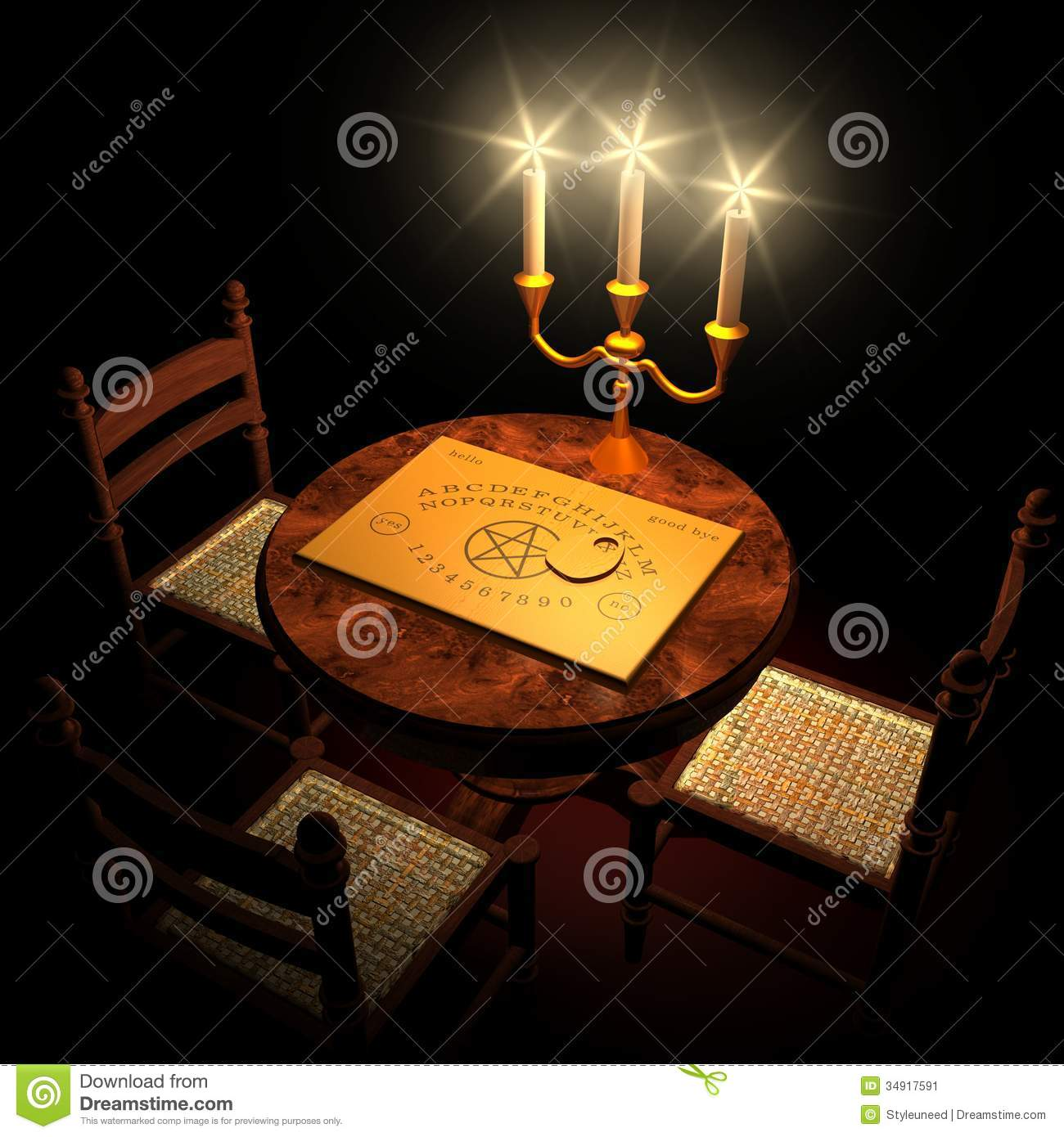 Ghost 3d Wallpaper Download Table With Ouija Board And Candles Stock Image Image